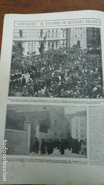 Coleccionismo de Revistas y Periódicos: 66 MUERTOS CINE VILLAREAL ABANICOS FLORES GIBRALTAR MALAGA MENENDEZ PELAYO ENTIERRO SANTANDER 1912 - Foto 8 - 194233378
