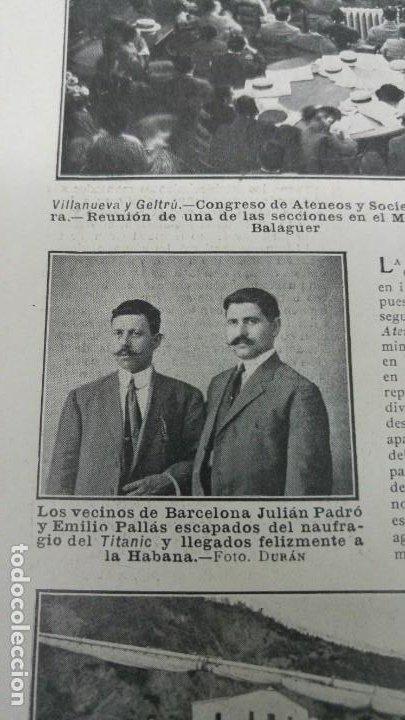 JULIAN PADRO Y EMILIO PALLAS ESCAPADOS DEL NAUFRAGIO DEL TITANIC BARCELONA REVISTA AÑO 1912 (Coleccionismo - Revistas y Periódicos Antiguos (hasta 1.939))