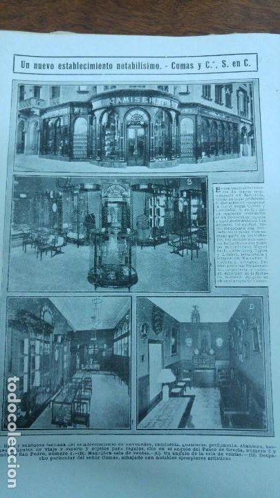 COMAS Y Cª NUEVO ESTABLECIMIENTO BARCELONA NOVEDADES CAMISERIA ABANICOS PERFUMERIA REVISTA AÑO 1913 (Coleccionismo - Revistas y Periódicos Antiguos (hasta 1.939))