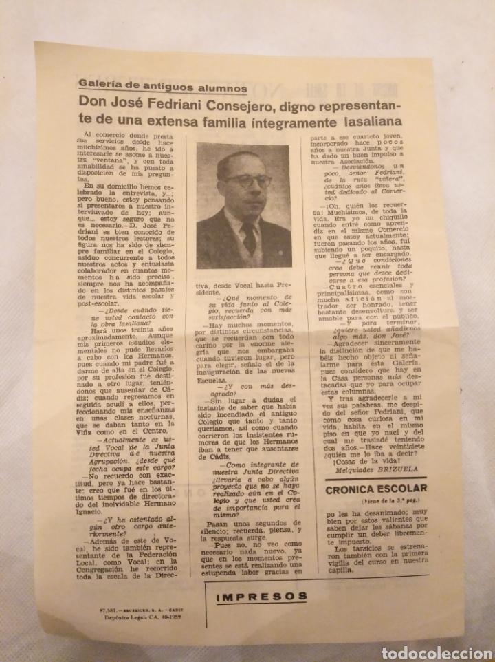 Coleccionismo de Revistas y Periódicos: CN Ahora boletín Escuelas Ntra Sra Rosario y San Antonio.La Viña,Cádiz. 1959.José Fedriani Consejero - Foto 3 - 194245317
