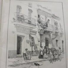 Coleccionismo de Revistas y Periódicos: UNA CALLE DE TRIANA POR ANGEL HUERTAS . LAMINA AÑO 1916- 21X28CM. Lote 194249295
