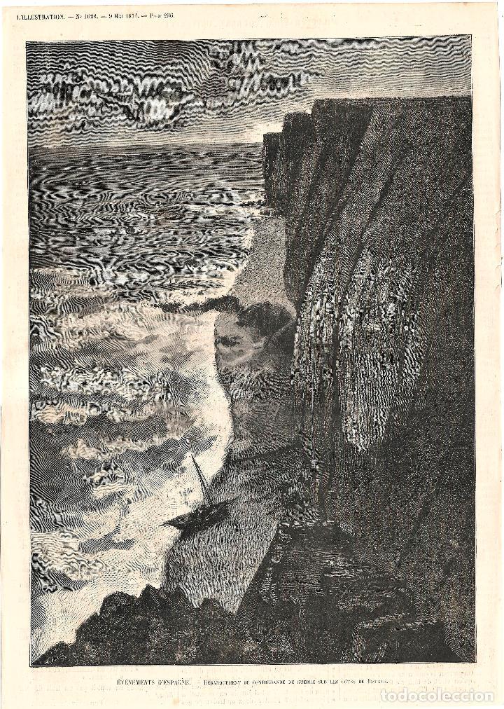 CONTRABANDO GUERRA CARLISTA LA GALEA GETXO VIZCAYA. GRABADO ORIGINAL PROCEDENCIA L'ILLUSTRATION 1874 (Coleccionismo - Revistas y Periódicos Antiguos (hasta 1.939))