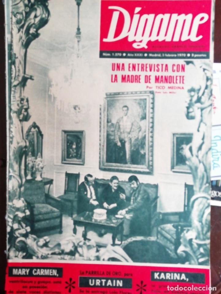 DIGAME Nº1570 1970 CASTILLO DE SOBROSO-MADRE MANOLETE PRADES(TARRAGONA)-KARINA-FUENTEOVEJUNA (Coleccionismo - Revistas y Periódicos Modernos (a partir de 1.940) - Otros)