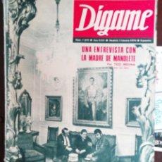 Coleccionismo de Revistas y Periódicos: DIGAME Nº1570 1970 CASTILLO DE SOBROSO-MADRE MANOLETE PRADES(TARRAGONA)-KARINA-FUENTEOVEJUNA. Lote 194252800