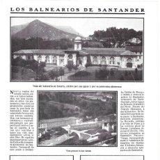 Colecionismo de Revistas e Jornais: 1911 HOJA REVISTA SANTANDER BALNEARIOS: SOLARES, LAS CALDAS, VISTA DE ONTANEDA DESDE BEJORIS, ALCEDA. Lote 194322747