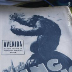 Coleccionismo de Revistas y Periódicos: HOJA ORIGINAL DIARIO ABC OCTUBRE 1933 PUBLICIDAD PELICULA KING KONG FOLLETO PROGRAMA CINE. Lote 194333602