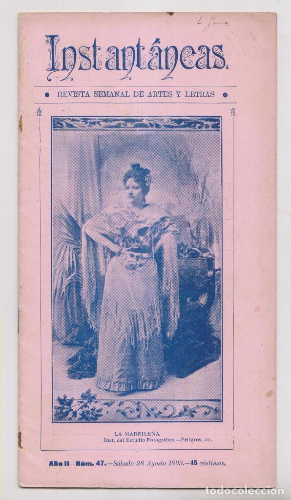 INSTANTÁNEAS. REVISTA SEMANAL DE ARTES Y LETRAS. N 47. AGOSTO 1899 (Coleccionismo - Revistas y Periódicos Antiguos (hasta 1.939))