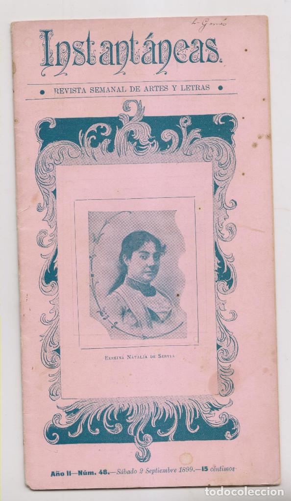INSTANTÁNEAS. REVISTA SEMANAL DE ARTES Y LETRAS. N 48. SEPTIEMBRE 1899. CARTAGENA (Coleccionismo - Revistas y Periódicos Antiguos (hasta 1.939))
