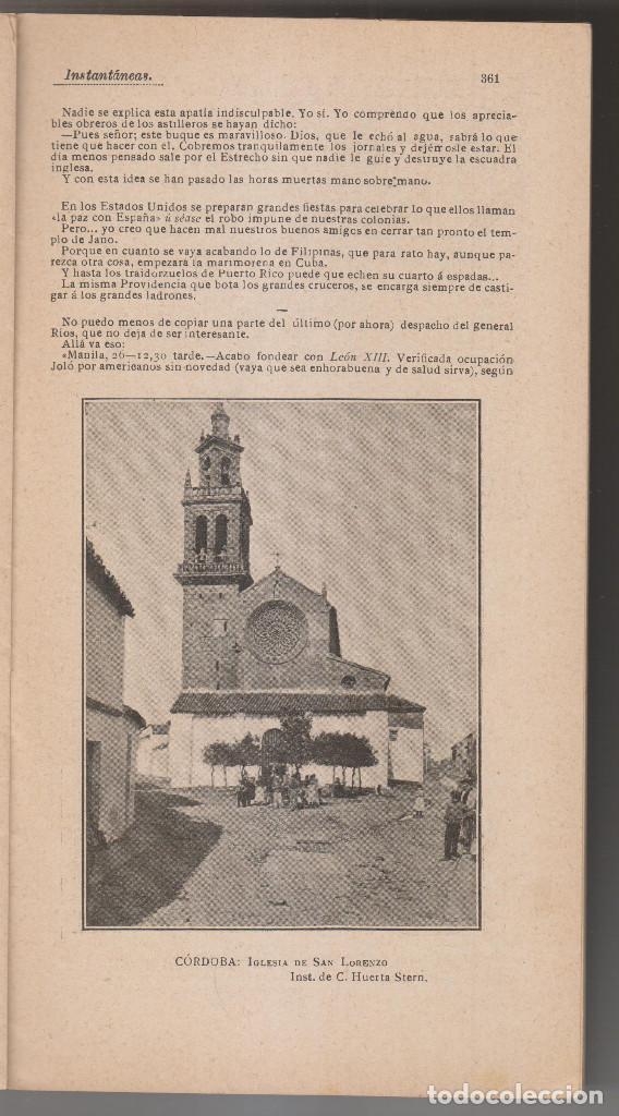 Coleccionismo de Revistas y Periódicos: INSTANTÁNEAS. REVISTA SEMANAL DE ARTES Y LETRAS. N 35. JUNIO 1899. MUERTE DE EMILIO CASTELAR - Foto 3 - 194344927