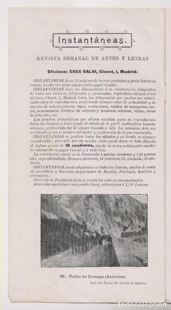 Coleccionismo de Revistas y Periódicos: INSTANTÁNEAS. AÑO II, Nº 65. 26 NOVIEMBRE 1898. - Foto 2 - 194346666