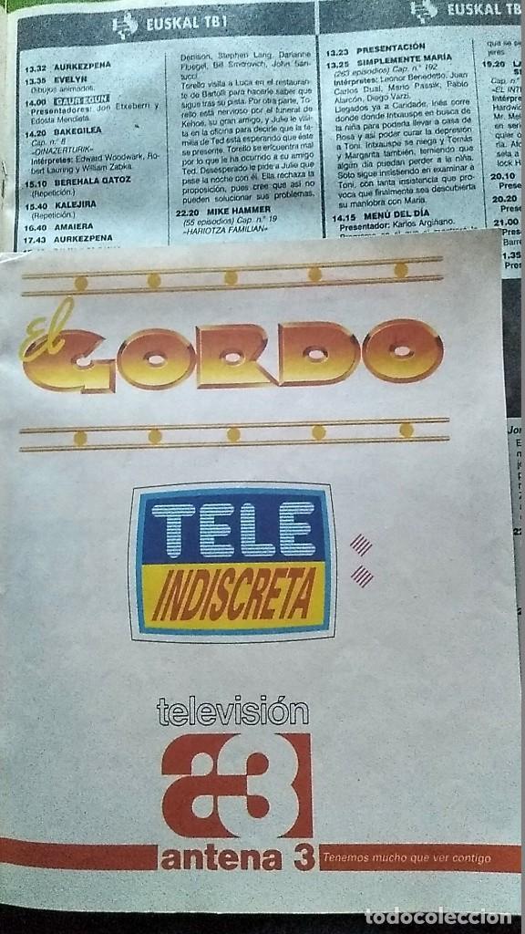 TARJETA PARTICIPACIÓN CONCURSO EL GORDO ANTENA 3 1990 REVISTA TELE INDISCRETA (Coleccionismo - Revistas y Periódicos Modernos (a partir de 1.940) - Otros)