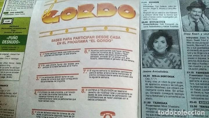 Coleccionismo de Revistas y Periódicos: TARJETA PARTICIPACIÓN CONCURSO EL GORDO ANTENA 3 1990 REVISTA TELE INDISCRETA - Foto 2 - 194353275