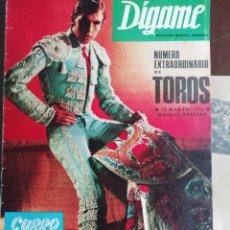 Coleccionismo de Revistas y Periódicos: DIGAME AÑO 1970 NUMERO EXTRAORDINARIO DE TOROS A COLOR GRAN FORMATO 43X29 CM. Lote 194355540