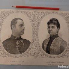 Coleccionismo de Revistas y Periódicos: GRABADO REVISTA ORIGINAL 1889. LEOPOLDO SALVADOR ARCHIDUQUE DE AUSTRIA Y BLANCA DE BORBON. Lote 194384357