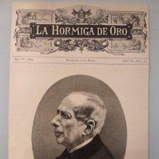 Coleccionismo de Revistas y Periódicos: HOJA GRABADO REVISTA ORIGINAL 1889. RETRATO DE JOAQUIN ROCA Y CORNET ,ESCRITOR CATALAN. Lote 194384472