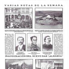 Coleccionismo de Revistas y Periódicos: 1911 HOJA REVISTA MADRID CALLE ATOCHA 113 INAUGURACIÓN NUEVO BAR ¡ALEGRÍA!. Lote 194384698