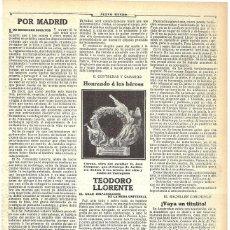 Coleccionismo de Revistas y Periódicos: 1911 HOJA REVIST CORONA DE ESCULTOR JOSÉ CAMPENY ARTILLERÍA A HÉROES DEL SITIO Y ASALTO DE TARRAGONA. Lote 194392837