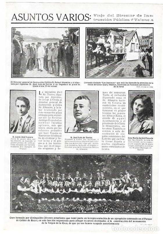 1911 HOJA REVISTA CEUTA DIRECTOR GRAL. RAFAEL ALTAMIRA Y DIPUTADO POR ALGECIRAS JOSÉ LUIS DE TORRES (Coleccionismo - Revistas y Periódicos Antiguos (hasta 1.939))