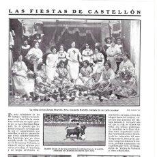 Coleccionismo de Revistas y Periódicos: 1911 HOJA REVISTA CASTELLÓN FIESTAS REINA JUEGOS FLORALES TOROS HOMENAJE LÁPIDA GUITARRISTA TÁRREGA. Lote 194530423