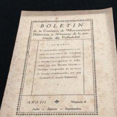 Coleccionismo de Revistas y Periódicos: BOLETÍN DE MONUMENTOS HISTÓRICOS Y ARTÍSTICOS DE LA PROVINCIA DE VALLADOLID. AÑO III. NÚM. 6. 1927.. Lote 194558325