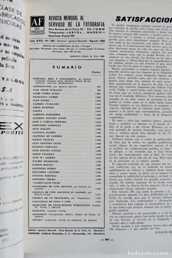 Coleccionismo de Revistas y Periódicos: Revista 200 AF. Nº Extraordinario, Agosto, 1968. Clásicos de la Fotografía Contemporánea Española - Foto 2 - 194575372