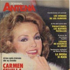 Coleccionismo de Revistas y Periódicos: == R48 - ANTENA SEMANAL - PORTADA CARMEN SEVILLA ENAMORADA. Lote 194621456