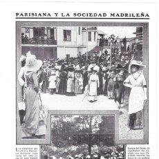 Coleccionismo de Revistas y Periódicos: 1911 HOJA REVISTA MADRID MONCLOA JARDINES Y RECREO DE PARISIANA TEATRO Y TERRAZA SEÑORAS HORA DEL TÉ. Lote 194691435
