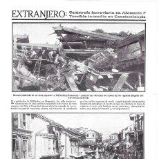 Coleccionismo de Revistas y Periódicos: 1911 HOJA REVISTA ALEMANIA MÜLLHEIM ACCIDENTE DE TREN DESCARRILAMIENTO AL ENTRAR EN ESTACIÓN. Lote 194691627
