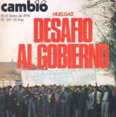 Coleccionismo de Revistas y Periódicos: REVISTA CAMBIO 16 NUMERO 215 19-25 ENERO 1976 HUELGAS DESAFIO AL GOBIERNO. Lote 194716981