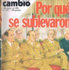 Coleccionismo de Revistas y Periódicos: REVISTA CAMBIO 16 NUMERO 535 1 DE MARZO DE 1982 POR QUE SE SUBLEVARON. Lote 194717062