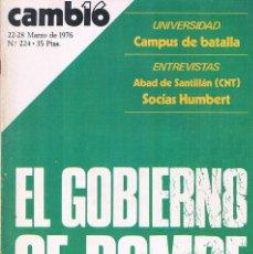 Coleccionismo de Revistas y Periódicos: REVISTA CAMBIO 16 NUMERO 224 MARZO 1976 EL GOBIERNO SE ROMPE. Lote 194718951