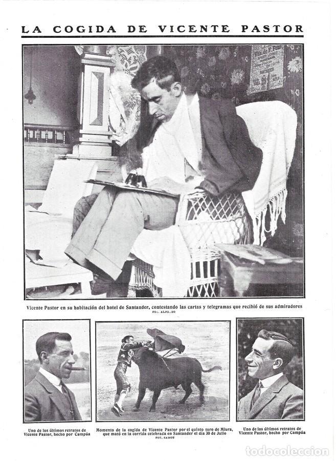 1911 HOJA REVISTA SANTANDER COGIDA MATADOR DE TOROS TORERO VICENTE PASTOR (Coleccionismo - Revistas y Periódicos Antiguos (hasta 1.939))