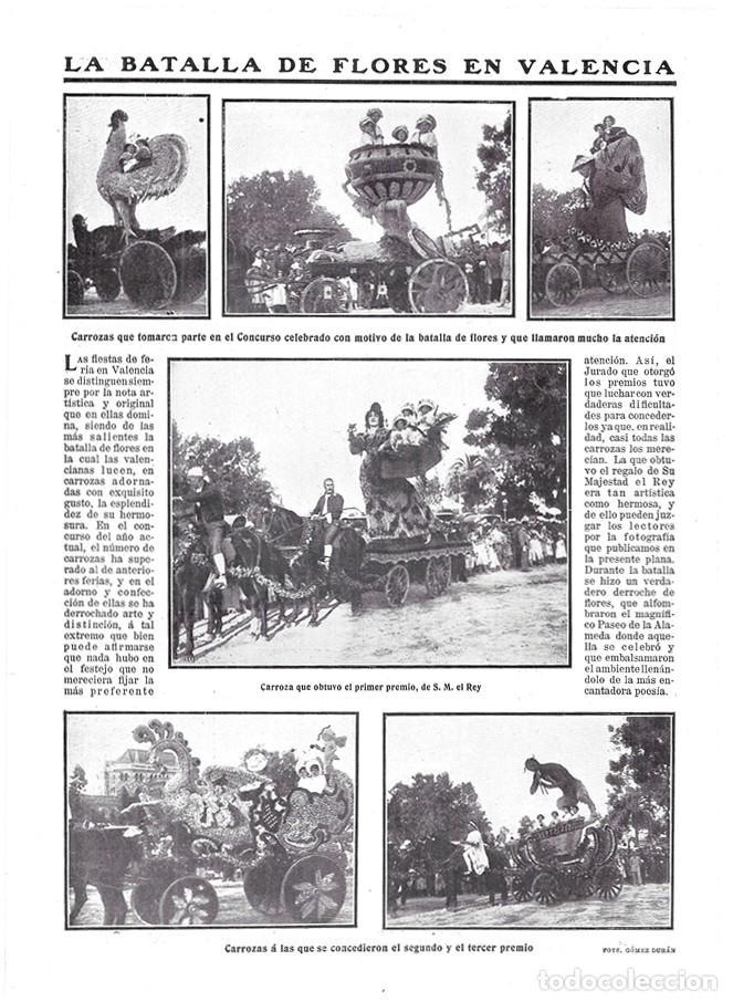 1911 HOJA REVISTA VALENCIA PASEO DE LA ALAMEDA FERIA BATALLA DE FLORES CARROZAS ADORNADAS (Coleccionismo - Revistas y Periódicos Antiguos (hasta 1.939))