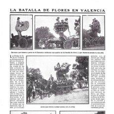 Coleccionismo de Revistas y Periódicos: 1911 HOJA REVISTA VALENCIA PASEO DE LA ALAMEDA FERIA BATALLA DE FLORES CARROZAS ADORNADAS. Lote 194894540