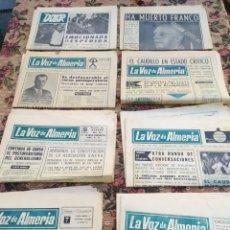 Coleccionismo de Revistas y Periódicos: LOTE 8 PERIÓDICOS LA VOZ DE ALMERÍA 1 DE NOVIEMBRE 1975 HASTA 25 DE NOVIEMBRE. Lote 194917541