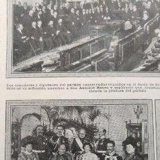 Coleccionismo de Revistas y Periódicos: BODA JOSEFA PATIÑO Y FERNANDEZ DURAN Y EL CONDE DE SASTAGO MARQUES MONISTROL HOJA REVISTA AÑO 1913. Lote 194940620