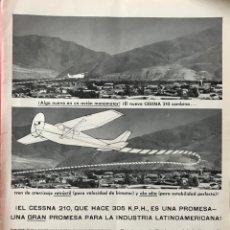 Coleccionismo de Revistas y Periódicos: AVIONETA CESSNA - PUBLICIDAD PÁGINA REVISTA - AÑO 1960 - AERONÁUTICA - AVIACIÓN. Lote 194961836