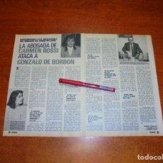 Coleccionismo de Revistas y Periódicos: CLIPPING 1989: CARMEN ROSSI - GONZALO DE BORBÓN.. Lote 194978352
