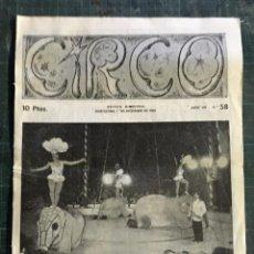 Coleccionismo de Revistas y Periódicos: CIRCO. REVISTA MENSUAL. Nº 58 BARCELONA DICIEMBRE 1962. Lote 195082983