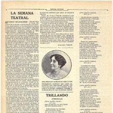 Coleccionismo de Revistas y Periódicos: 1911 HOJA REVISTA NUEVO LIBRO ESCRITORA DOLORES DE GORTAZAR SERANTES 'EL CRISTO DE LA ROCA'. Lote 195098565