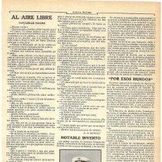 Coleccionismo de Revistas y Periódicos: 1911 HOJA REVISTA ANTONIO VÁZQUEZ DE ALDANA COMANDANTE DE INFANTERÍA INVENTOR DE PISTOLA AUTOMÁTICA. Lote 195098777