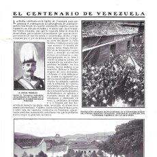 Coleccionismo de Revistas y Periódicos: 1911 HOJA REVISTA CENTENARIO DE VENEZUELA PRIMERA PIEDRA MONUMENTO A SIMÓN BOLIVAR ANIBAL MORILLO. Lote 195101776