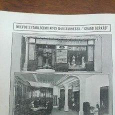 Coleccionismo de Revistas y Periódicos: ESTABLECIMIENTO -GRAND GERARD- VESTIDOS Y SOMBREROS ALTA FANTASIA BARCELONA CARLOS ALBESA HOJA 1913. Lote 195138725