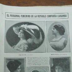 Coleccionismo de Revistas y Periódicos: PERSONAL FEMENINA DE -LA COMPAÑIA ITALIANA CARAMBA - DE OPERA COMICA . HOJA REVISTA AÑO 1913. Lote 195139151
