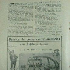 Coleccionismo de Revistas y Periódicos: FABRICA DE CONSERVAS EL GAITERO. POLA DE SIERO / ZARRACINA GIJÓN. ASTURIAS 1931. PUBLICIDAD. Lote 195191703