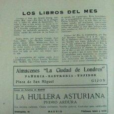 Coleccionismo de Revistas y Periódicos: HULLERA ASTUR.. - FABRICA EMBUTIDOS. J AZA. TRUBIA – C.DE LONDRES. GIJÓN. ASTURIAS. 1931. PUBLICIDAD. Lote 195191845