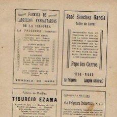 Coleccionismo de Revistas y Periódicos: LA FELGUERA, LANGREO. PUBLICIDAD. SIDRA, VINO, MUEBLES, CARROS, INDUSTRIAL. ASTURIAS. 1931. Lote 195191906