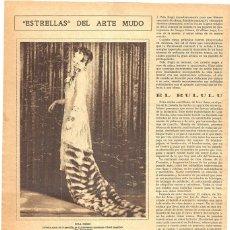 Coleccionismo de Revistas y Periódicos: 1928 HOJA REVISTA ESTRELLA DEL CINE MUDO POLA NEGRI PRIMERA ACTRIZ DE LA COMPAÑÍA PARAMOUNT. Lote 195210542