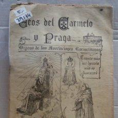 Coleccionismo de Revistas y Periódicos: 29174 - ECOS DEL CARMELO Y PRAGA - REVISTA MENSUAL ILUSTRADA - Nº ? - AÑO 1938. Lote 195266426