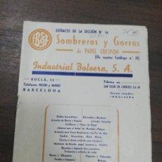 Coleccionismo de Revistas y Periódicos: SOMBREROS Y GORROS DE PAPEL CRESPON. INDUSTRIAL BOLSERA. SEPTIEMBRE 1943. CON LISTADO DE PRECIOS,. Lote 195267782